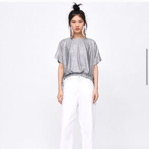 Zara Silver Metallic Effect Blouse Size Small